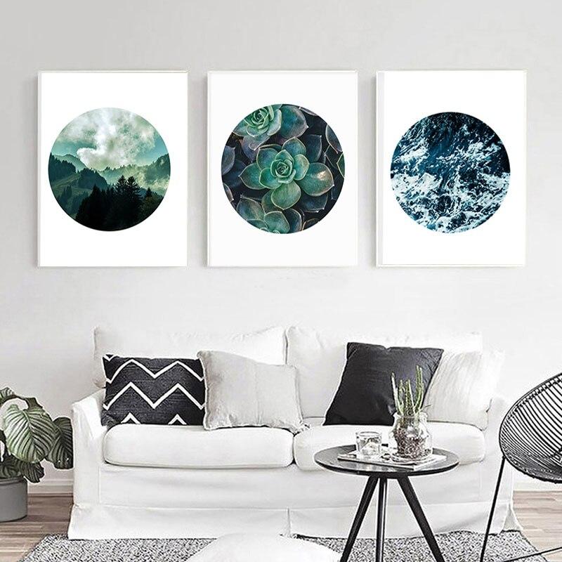 Cactus Botanical Print Succulent Art Circle Home Decor Mountains Landscape Minimalist Nordic Trees Forest Nature Clouds