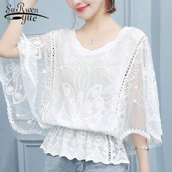 Blusas de verano para mujer, blusa de talla grande 2019, camisas de manga murciélago para mujer, blusa blanca de encaje, tops y blusas para mujer 4478 50