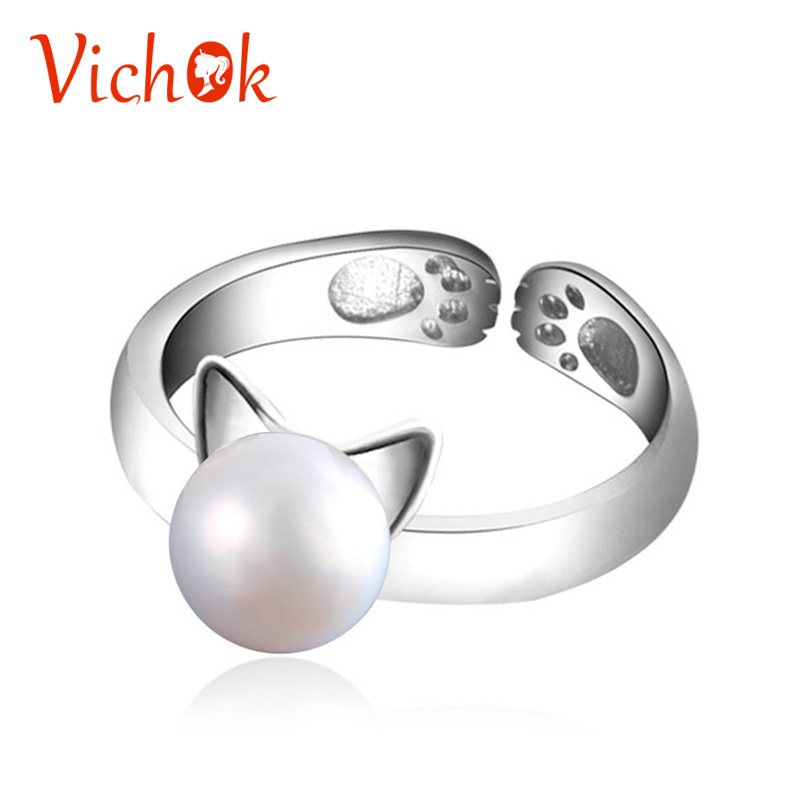 VICHOK 925 Sterling Silver Rings For Women Girls Pearl Cat Ear Ring Cute Animal Adjustable Ring Femme Bijoux Jewelry Birthday