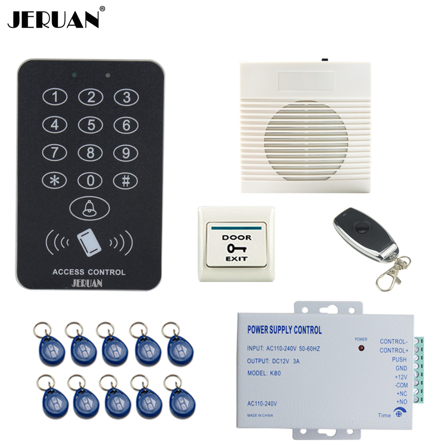 JERUAN Cool black RFID Password Access Controller system kit+Speaker doorbell+Remote control+Exit Button+ Free shipping  ljl 3 smart attendance system password access controller black