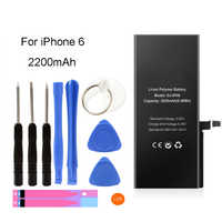For iPhone 6 Battery High Capacity 2200mAh Replacement Li-ion Polymer Battery + Free Tools Stickers