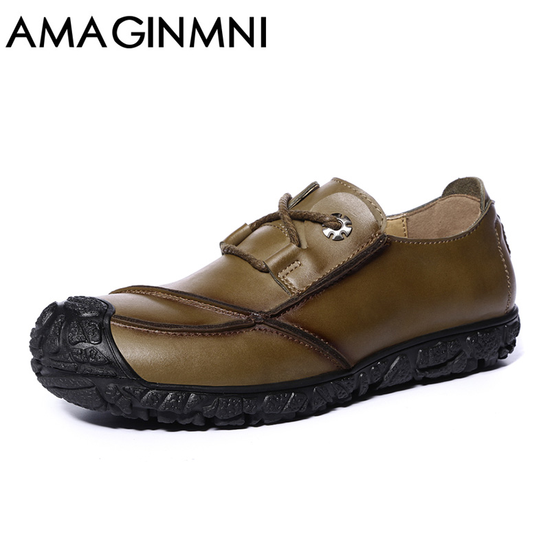 AMAGINMNI Brand 2017 New shoes men fashion personality Handmade Leather Shoes Casual Spring Autumn High Quality Men Flats Shoes 2016 new italy deluxe brand golden goose uomo donna casual ggdb fashion handmade original box shoes high quality eur 34 46