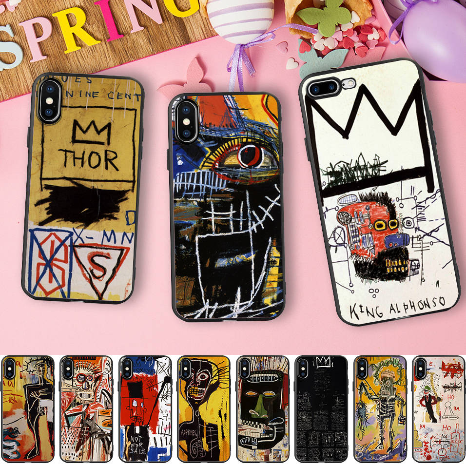 US $1 99 35% OFF Jean Michel Basquiat Case For iPhone 6 5 5S XR XS Max SE  6s Case Graffiti Crown Thor Silicone Phone Cover For iPhone 7 8 Plus X-in