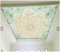 Custom 3D Wallpaper 3d Ceiling Wallpaper Murals Pink Romantic Pearl Pattern Zenith Murals Wallpaper Living Room