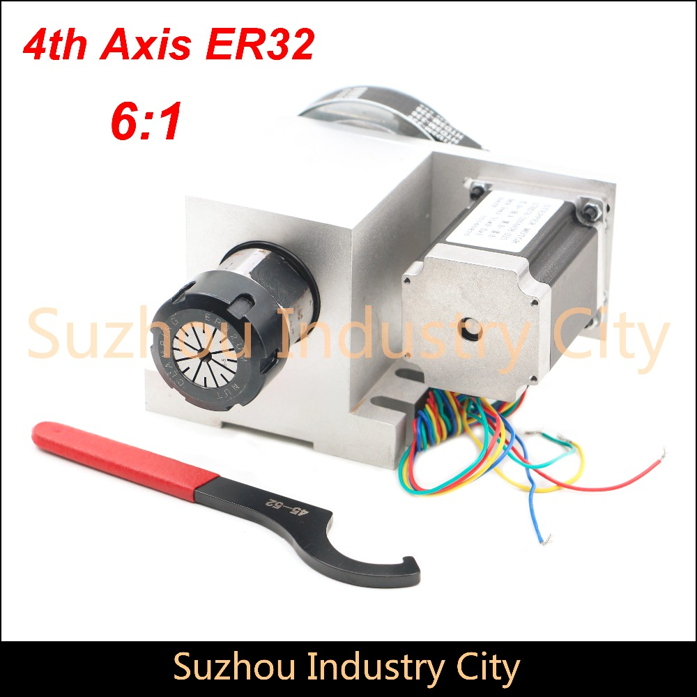 ER32 Chunk CNC 4th Axis CNC dividing head/Rotation Axis/A axis kit for Mini CNC router/engraver woodworking engraving machine cnc 3040 cnc router cnc machine 3 4 5 axis mini engraving machine woodworking tools diy hy 3040 high quality metal acrylic