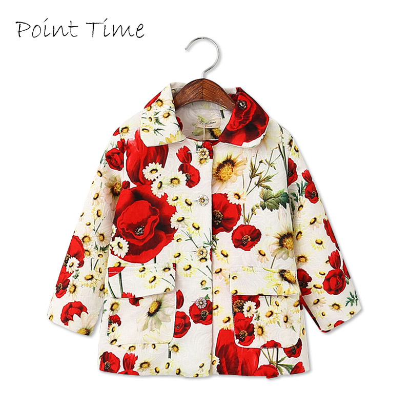 Spring Floral Coat For Girls Cotton Turn Down Collar Baby Girl Jackets And Children's Coats Girls Clothes Outerwear Jaqueta 8202