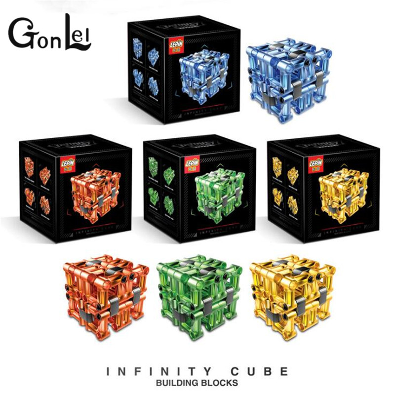 4PCS Building Blocks Mini Fidget Infinite Cube Cube Vinyl Desk Toy Squeeze Fun Click Gli ...