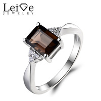 Leige Jewelry Natural Smoky Quartz Ring Promise Ring Emerald Cut Brown Gemstone Solid 925 Sterling Silver