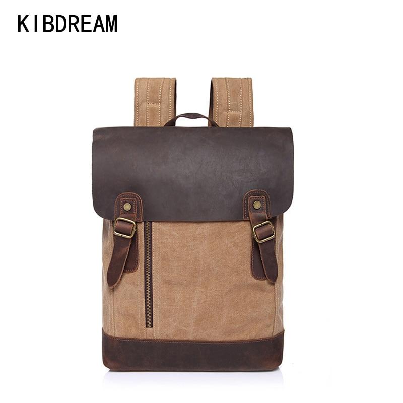 ФОТО KIBDREAM Vintage Men Canvas Backpack Crazy Horse Leather Leisure Rucksack Men's School Bags Daypack Retro Bookbag for Teenagers