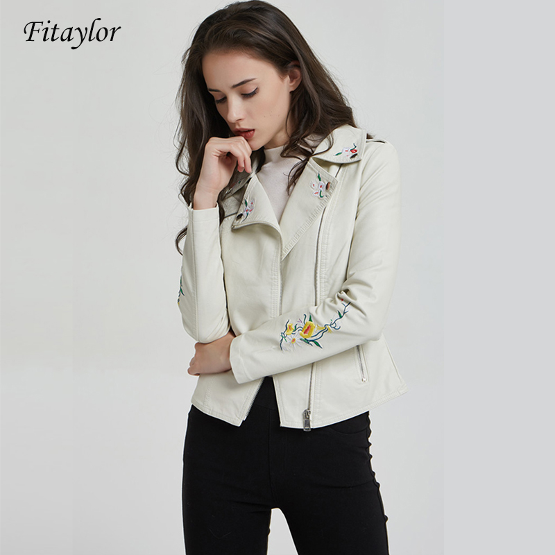 Fitaylor Autumn Winter Women Faux   Leather   Jacket Coat Floral Print Embroidery Casual Pu   Leather   Black Short Street Outerwear