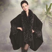 Big Soft Warm Fur Women Coat Winter New Fashion Woman Knitting Luxury Fur Cape Shawl Graceful
