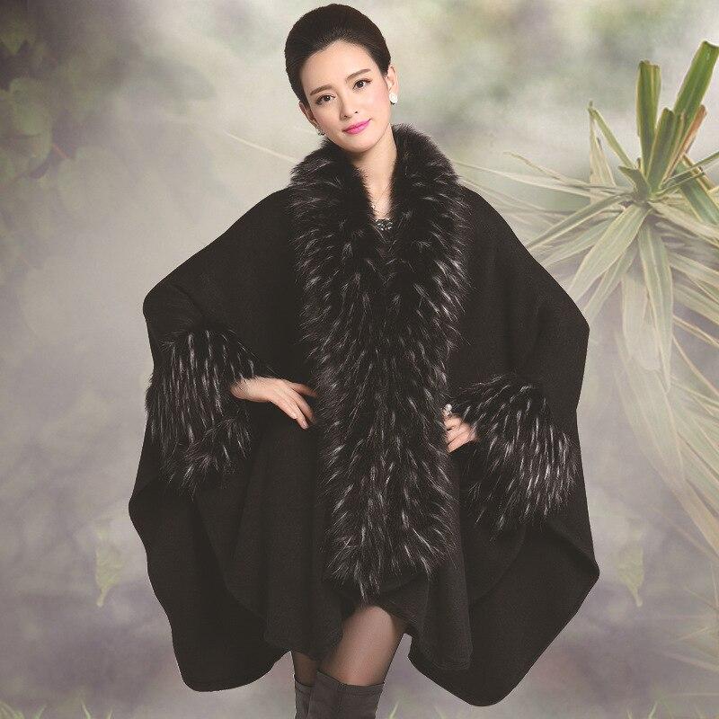Big Soft Warm Fur font b Women b font Coat Winter New Fashion Woman Knitting Luxury