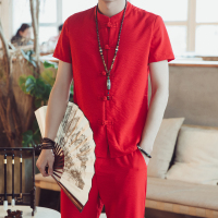 Summer Men Two piece set Vintage Style Short Sleeve men Shirt and Drawstring Shorts Asian size S 4XL