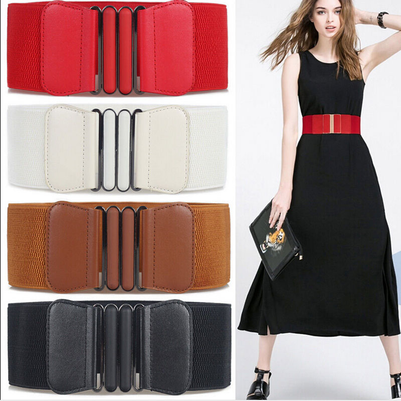 Waist Belts Women Skinny Elastic Ceinture Fashion Lady Stretch Elastic Leather Wide Belt Dress Adornment For Femme Waistband