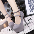 Europe fine ultra Flack leather high heels waterproof word shallow mouth sexy nightclub shoes women pumps