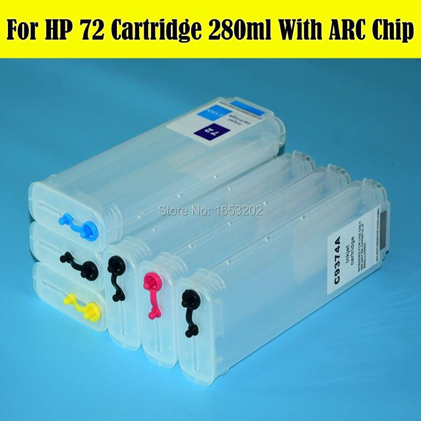 280 ML Con Il Circuito Integrato ARC Cartuccia di Inchiostro Riutilizzabile Per HP 72 Designjet T795 T610 T620 T2300 T770 T790 T1100 T1120 T1200 T1300 Printer