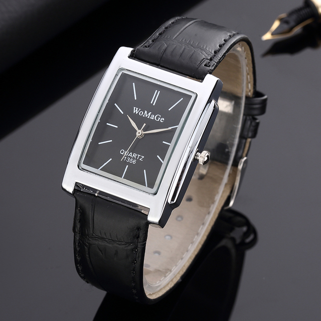 Black Square  Luxury Leather Band Quartz  Vintage watch