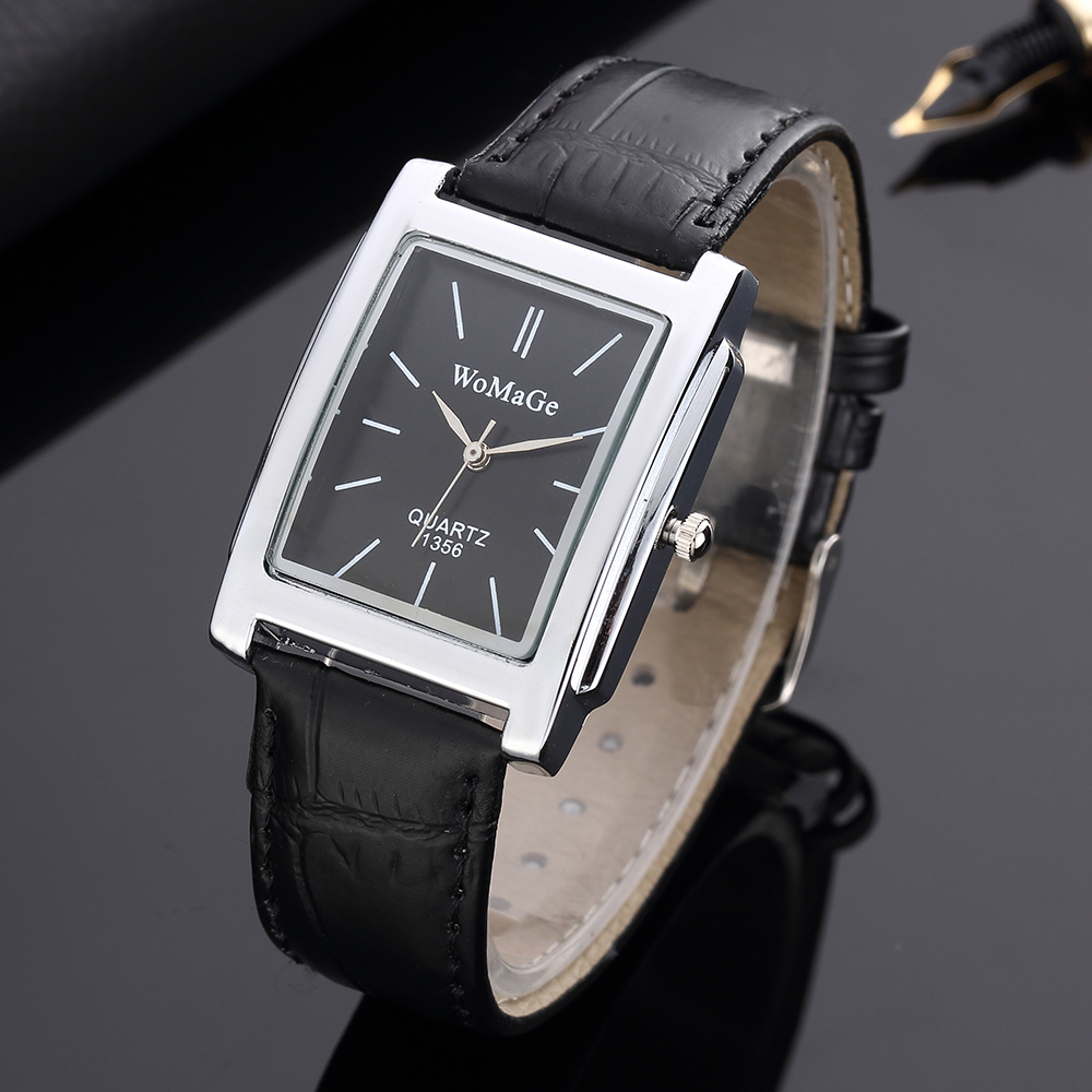 2019 New Square Men Watch Rose Gold Silver Case Men Watches 2019 Luxury Brand Leather Band Quartz Clock Montre Homme Vintage