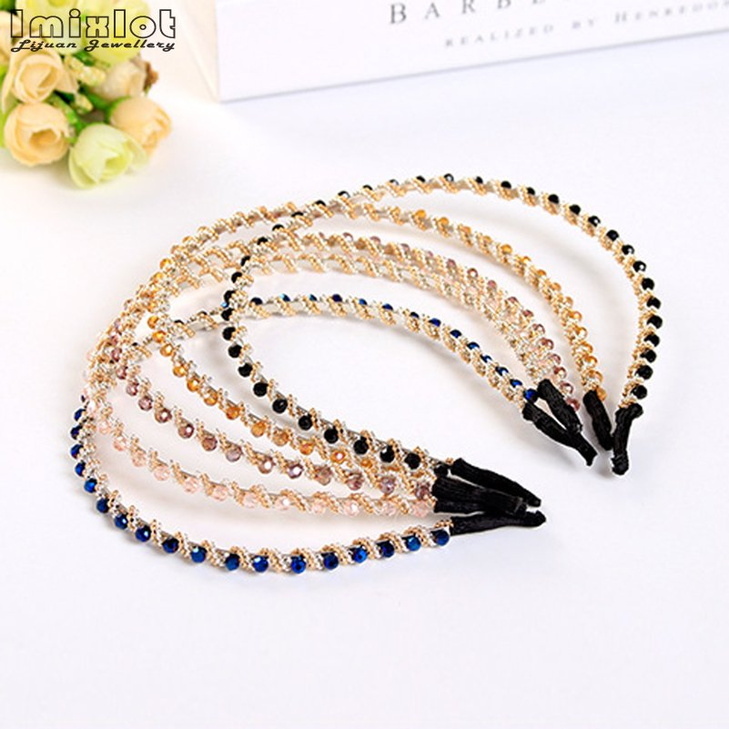 Hair-Band Rhinestone Headdress Hair-Accessories Crystal Elastic Girls Korean-Fashion