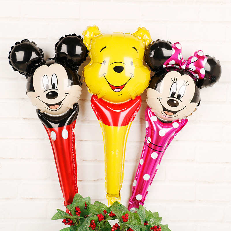 5pcs Mickey mouse birthday party hand stick foil balloons Disney baby shower party supplies cartoon Minnie Winnie pooh mylar toy