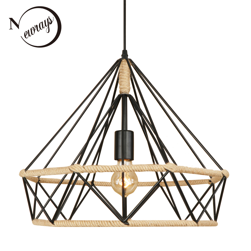 Loft retro industrial American country vintage black pendant lamp E27 hemp rope pendant light for bedroom Restaurant living room vintage industrial american country black iron hemp rope led e27 pendant light for restaurat coffee bar dia 30 40cm 1656