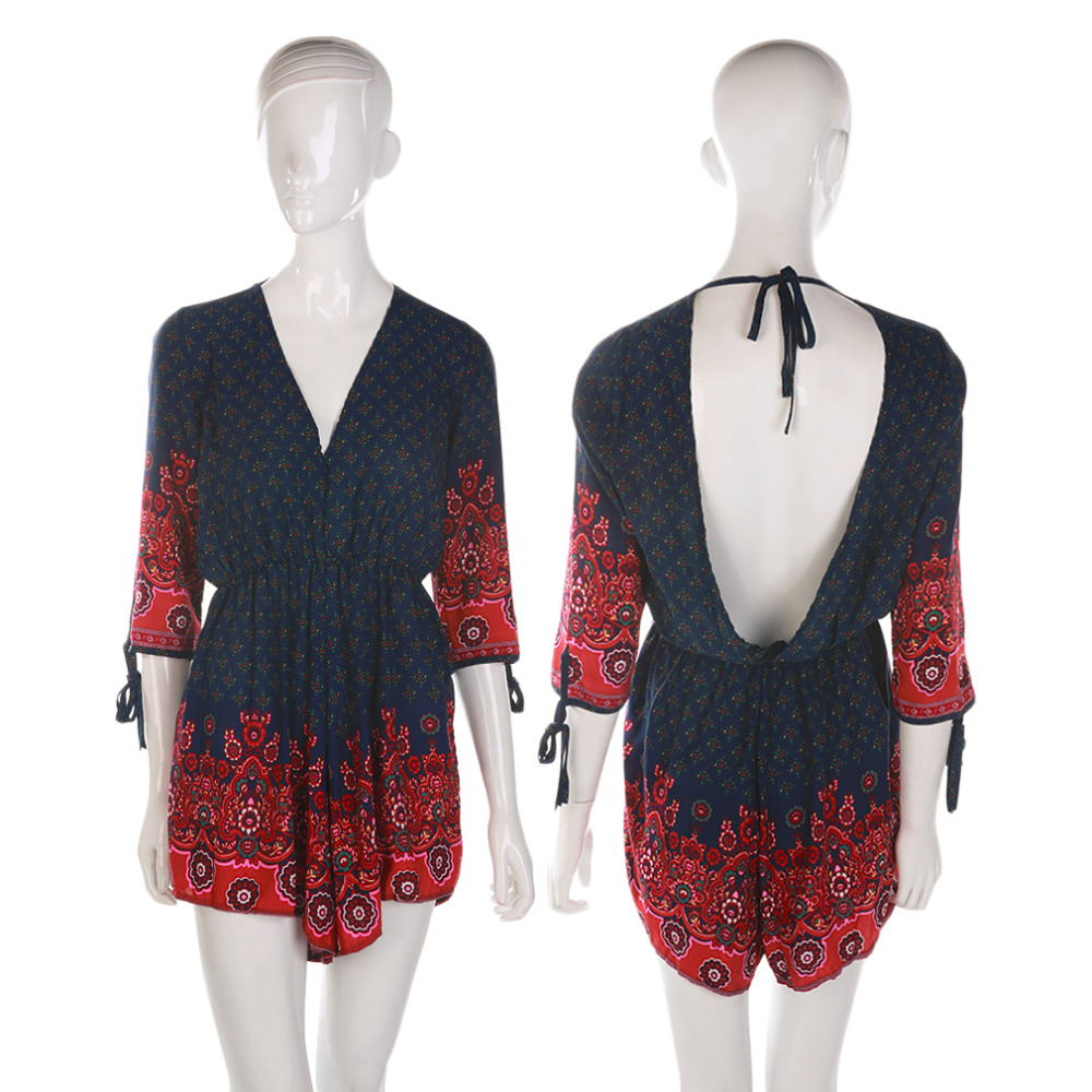 HW2016 NEW arrival 2016 Women Long Sleeve Printed Dress V-neck Backless Lace-up