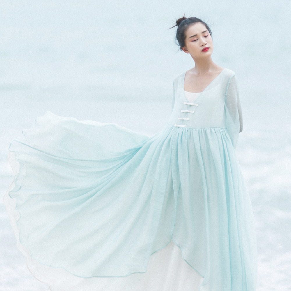 Mm153 new arrival summer 2017 light green flowing women for Short flowing wedding dresses