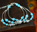 Tibetan Jewelry Multi-layer Bracelets Bangles Blue Red Colors Gift For Women Drop Shipping 0106