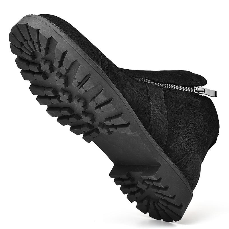 Fotwear hommes botte en cuir pleine fleur hommes travail noir chaussures hiver botte en peluche avec zip doublure en micropolaire douce pour plus de chaleur - 3