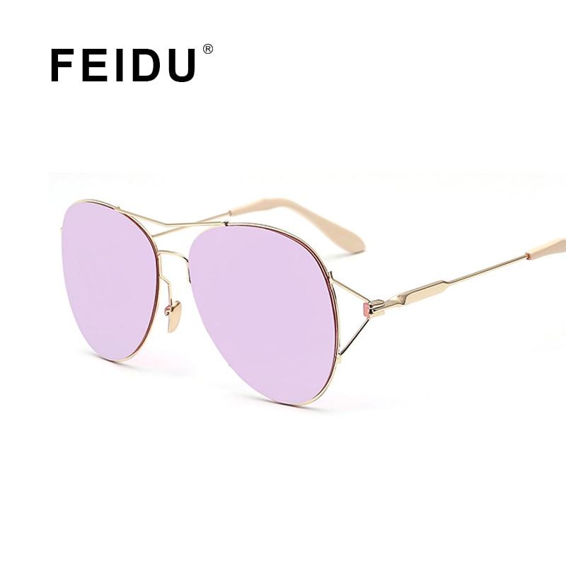 FEIDU Fashion Luxury Women Sunglasses Brand Design Vintage Metal Frame Coating Mirror Sun glasses For Men Driving Eyewear Female