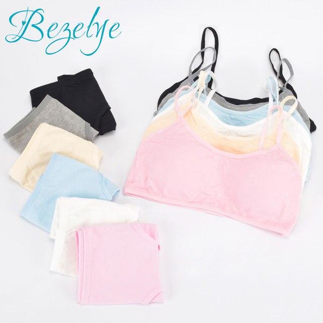 46f8f9d643 Young Girl Bra Student Underwear Set Solid Fasteners Bras for Girls Cotton  Children s Bra Soft Bra+Pant Girls Underwear