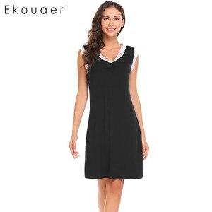 Image 3 - Ekouaer Ngủ Womens Casual Dễ Thương Thoải Mái Không Tay Nightdress Mùa Hè Ren Chắp Vá O Cổ Áo Tank Dress