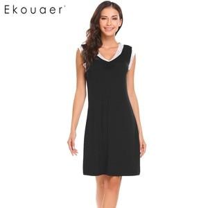 Image 3 - Ekouaer Sleepwear Womens Casual Cute Comfort Sleeveless Nightdress Summer Lace Patchwork O Neck Nightgown Tank Dress