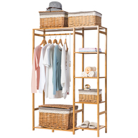 Nature Baboom Wardrobe Multifunction Burlywood Storage Rack Orgnizer Large Capacity Clothing Hanger Coat Home Furniture