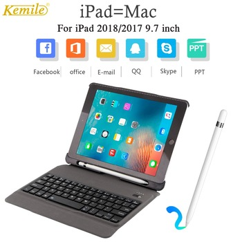 ergonomic Bluetooth Keyboard Case For iPad 2018 2017 9.7 W Pencil Holder Multi-angle Stand Ultra-thin Leather Cover A1893 A1954
