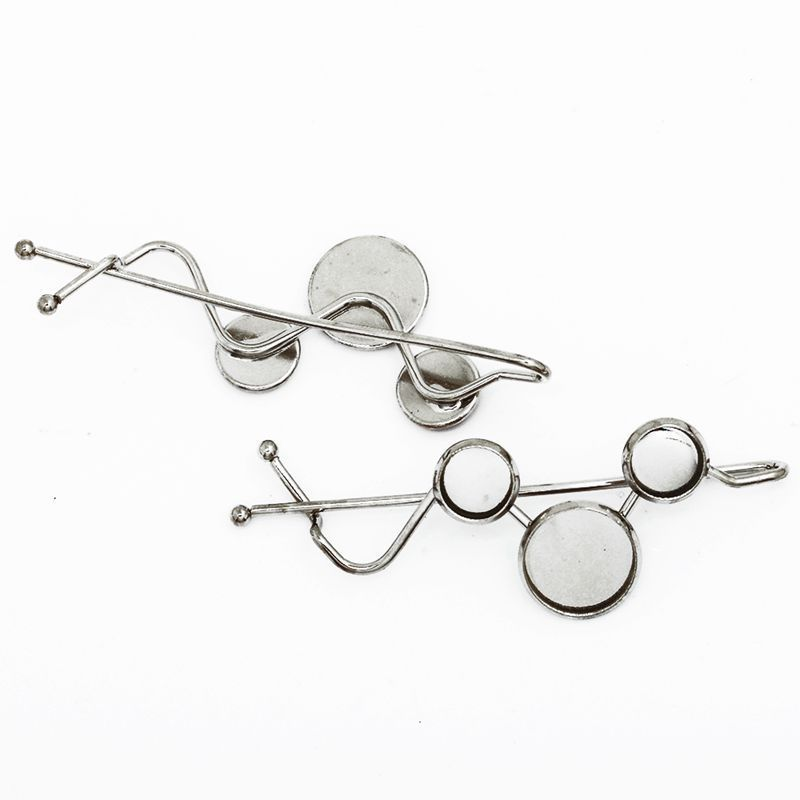 20pcs White Gold Tone Hair Clips/Hairpins, Round Cabochon Base Setting, Safety Pin/Brooch, 63X22mm-10016603