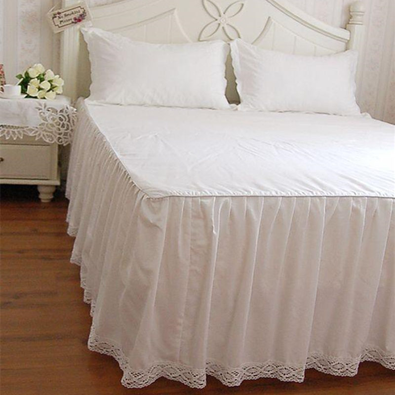White bedspread full cotton bedding princess bed sheet comfortable lace patchwork Coverlets bedspreads wedding textil bed skirt