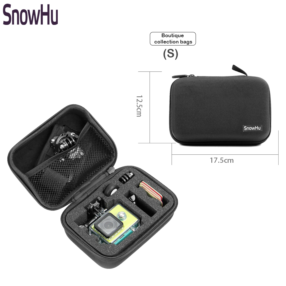 SnowHu for Gopro Accessories Small Storage Camera Bag Cover Box Protective Case For Go pro Hero 5 4 3+for Sj4000 Bags Box GP83 go pro hero 4 3 accessories metal alloy protective case cover housing shell lens cover for gopro hero 43 camera accessories