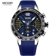 цена MEGIR Men's Sport Quartz Watches Silicone Band Waterproof Luminous Chronograph Wristwatch Man Relogios Masculino Clock 2106 Blue онлайн в 2017 году
