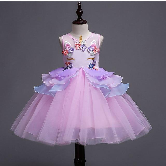 Необычные детские Единорог тюль вечерние платье для девочек цветы платья принцессы для маленьких девочек Свадебная вечеринка костюмы, 8 10 для детей 12 лет