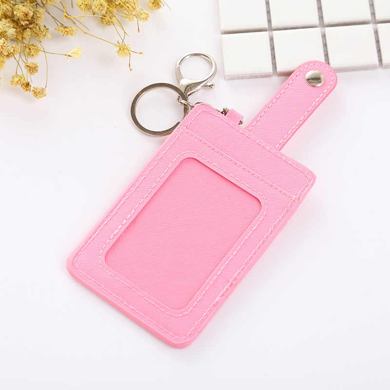 2b01c5b78676 2019 Candy Color PU Leather ID Card Holder Bank Card Wallet Business Credit  Card Holder Key Ring Keychain Bus Card Holder HB240