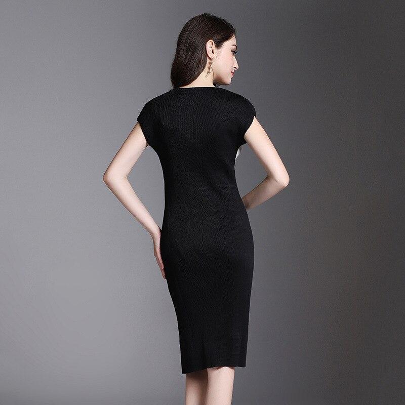 Pour Azterumi À Courtes Manches Col Moulante Partie Robes Slim Femmes Clair Nouveau 2019 D'été Issey Rond Robe Miyake Élégante rwqY8HATr