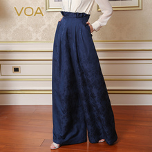 VOA 2017 Summer Heavy Silk Women High Waist Wide Leg Pants Navy Blue Plus Size Loose Ruffle Fashion Print Trouser KLH00201