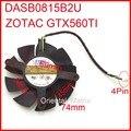 Frete Grátis DASB0815B2U DC12V 0.6A 74mm 4 Fios 4Pin Para GTX560TI ZOTAC Refrigerador Placa Gráfica Ventilador de Refrigeração