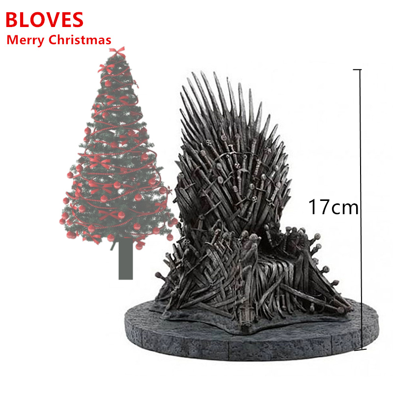Game Of Thrones The Iron Throne Action Figure Phone Holder 17cm Groot Halloween Christmas Gift Anime TV Sword Chair Model Toys game of thrones action figure toys sword chair model toy song of ice and fire the iron throne desk christmas gift 17cm