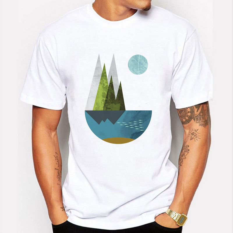 2017 New Fashion Sunrise Print T Shirt Men's Mountain