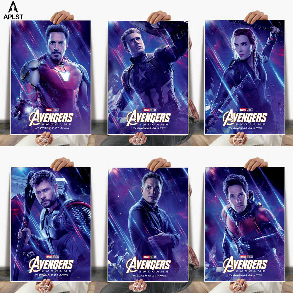 The Avengers End Game Characters White Paper Posters Wall Pictures Home Decor Painting Art for Bar Cafe Bedroom School Dorm room