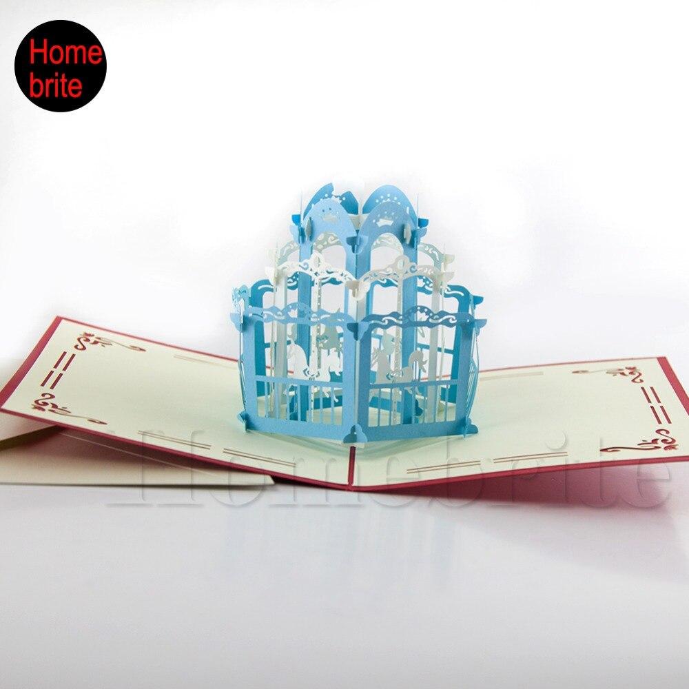 3d Pop Up Castle Paper Cards Laser Cut Wedding Invitation