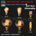 E27 E14 40W 60W Vintage Edison Lamp Light Bulb C35 Flame Candle G125 G95 ST64 T45 A19 T10  110V 220V
