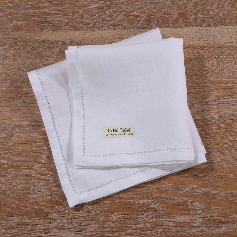 S009: 1 Piece White Ramie Kerchief Drawnwork Ladder Hemstitch Hanky Wedding Handkerchief
